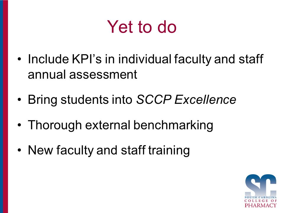 Yet to do Include KPI's in individual faculty and staff annual assessment Bring students into SCCP Excellence Thorough external benchmarking New faculty and staff training