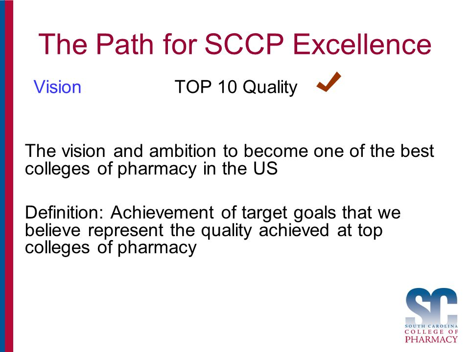 The Path for SCCP Excellence VisionTOP 10 Quality The vision and ambition to become one of the best colleges of pharmacy in the US Definition: Achievement of target goals that we believe represent the quality achieved at top colleges of pharmacy