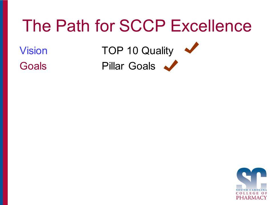 The Path for SCCP Excellence VisionTOP 10 Quality GoalsPillar Goals
