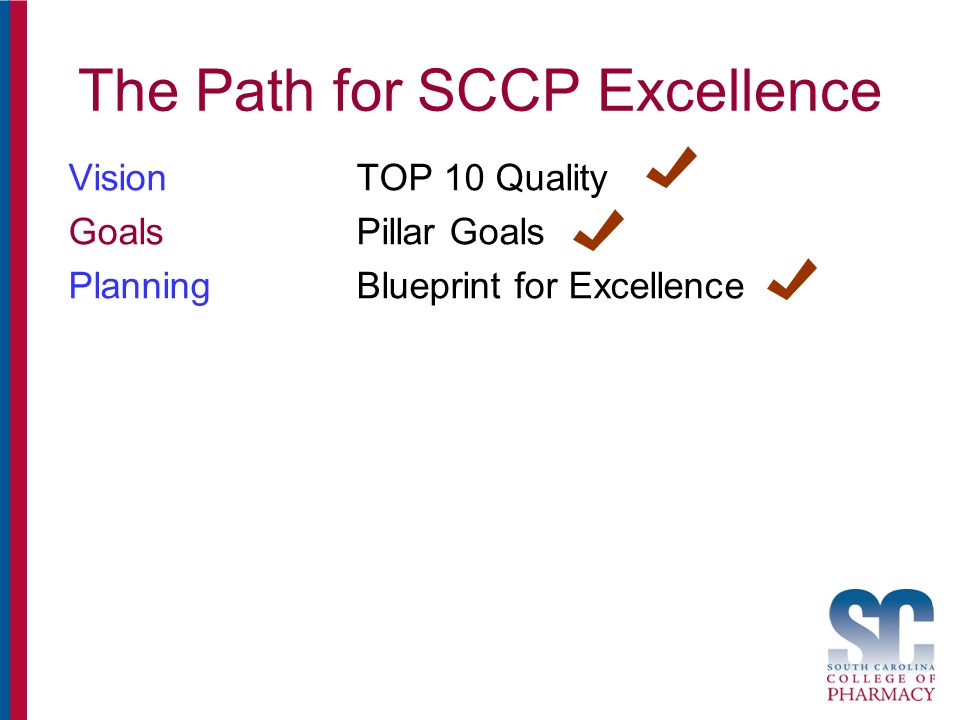 The Path for SCCP Excellence VisionTOP 10 Quality GoalsPillar Goals PlanningBlueprint for Excellence