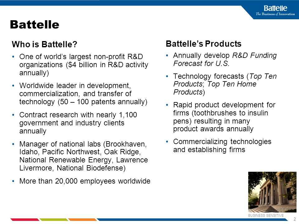 BUSINESS SENSITIVE 2 Battelle Who is Battelle.