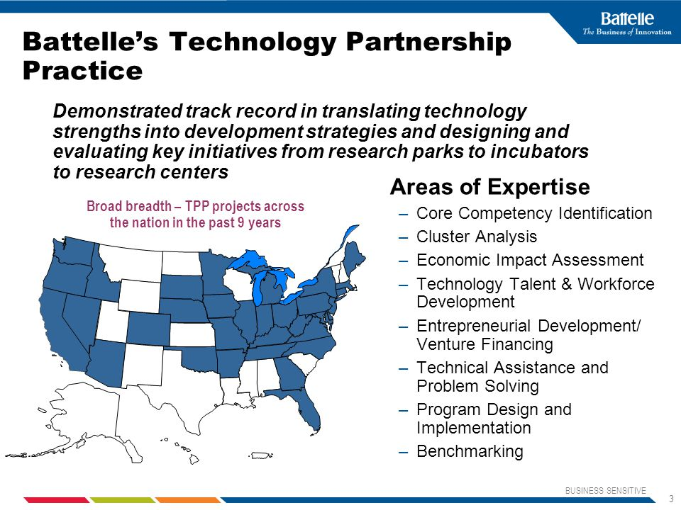 BUSINESS SENSITIVE 3 Battelle's Technology Partnership Practice Demonstrated track record in translating technology strengths into development strategies and designing and evaluating key initiatives from research parks to incubators to research centers Broad breadth – TPP projects across the nation in the past 9 years Areas of Expertise –Core Competency Identification –Cluster Analysis –Economic Impact Assessment –Technology Talent & Workforce Development –Entrepreneurial Development/ Venture Financing –Technical Assistance and Problem Solving –Program Design and Implementation –Benchmarking