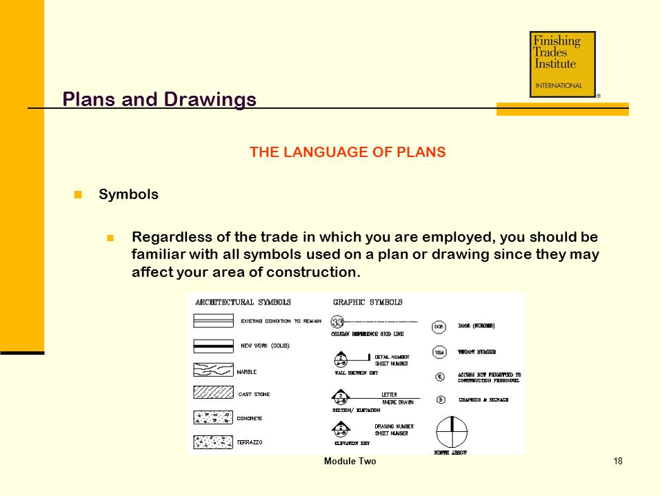Module Two18 Plans and Drawings THE LANGUAGE OF PLANS Symbols Regardless of the trade in which you are employed, you should be familiar with all symbo
