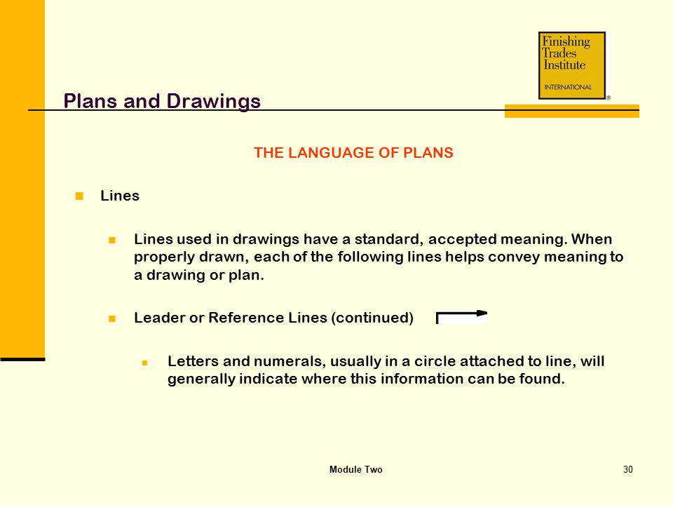 Module Two30 Plans and Drawings THE LANGUAGE OF PLANS Lines Lines used in drawings have a standard, accepted meaning. When properly drawn, each of the