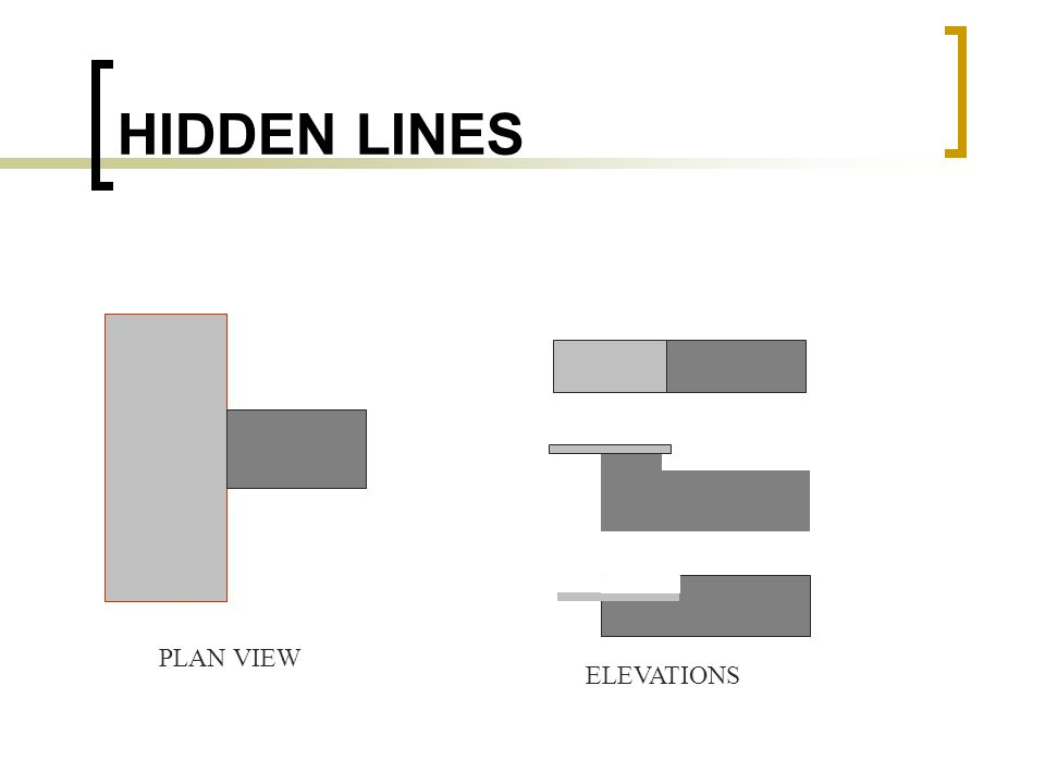 HIDDEN LINES PLAN VIEW ELEVATIONS