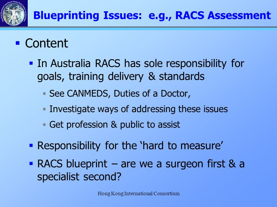 Hong Kong International Consortium  Content  In Australia RACS has sole responsibility for goals, training delivery & standards  See CANMEDS, Dutie