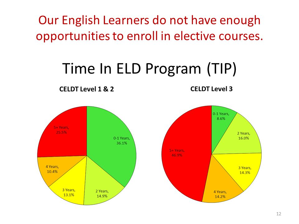 Our English Learners do not have enough opportunities to enroll in elective courses.