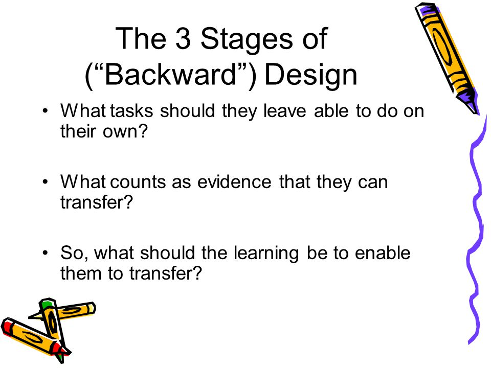 The 3 Stages of ( Backward ) Design What tasks should they leave able to do on their own.