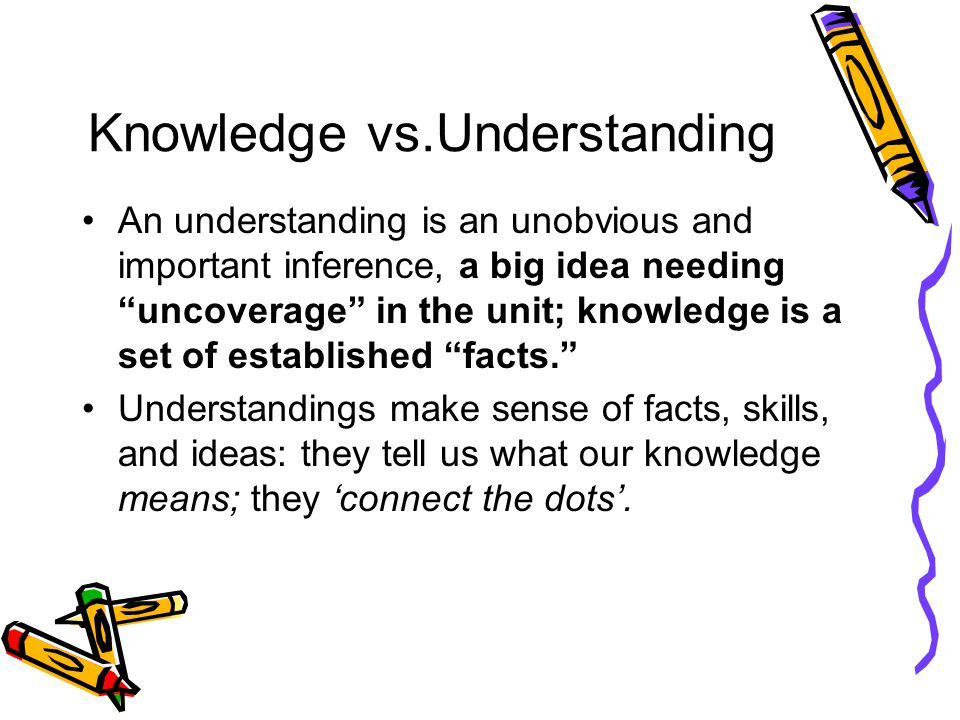 Knowledge vs.Understanding An understanding is an unobvious and important inference, a big idea needing uncoverage in the unit; knowledge is a set of established facts. Understandings make sense of facts, skills, and ideas: they tell us what our knowledge means; they 'connect the dots'.