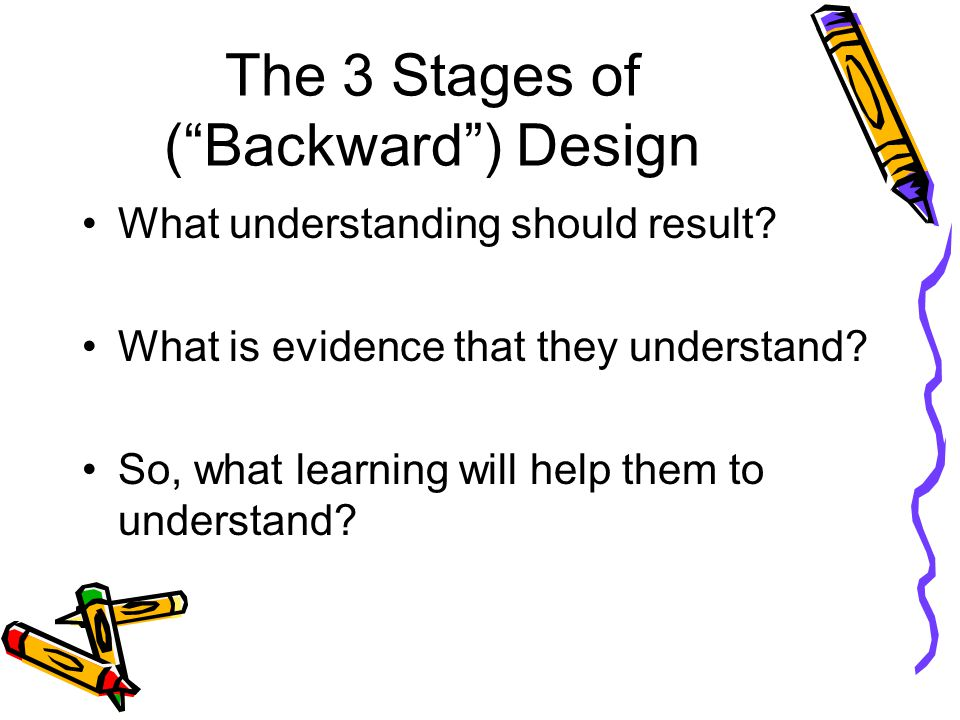 """The 3 Stages of (""""Backward"""") Design What understanding should result? What is evidence that they understand? So, what learning will help them to under"""
