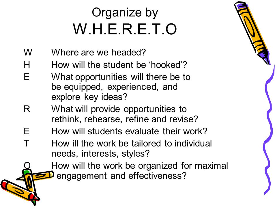 Organize by W.H.E.R.E.T.O WWhere are we headed. H How will the student be 'hooked'.
