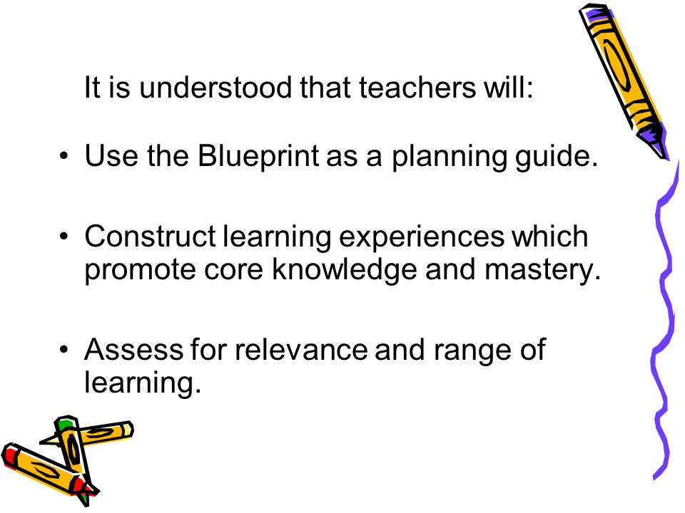 It is understood that teachers will: Use the Blueprint as a planning guide.