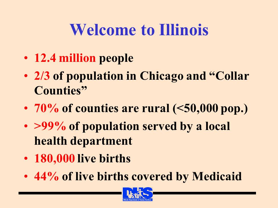 Welcome to Illinois 12.4 million people 2/3 of population in Chicago and Collar Counties 70% of counties are rural (<50,000 pop.) >99% of population served by a local health department 180,000 live births 44% of live births covered by Medicaid