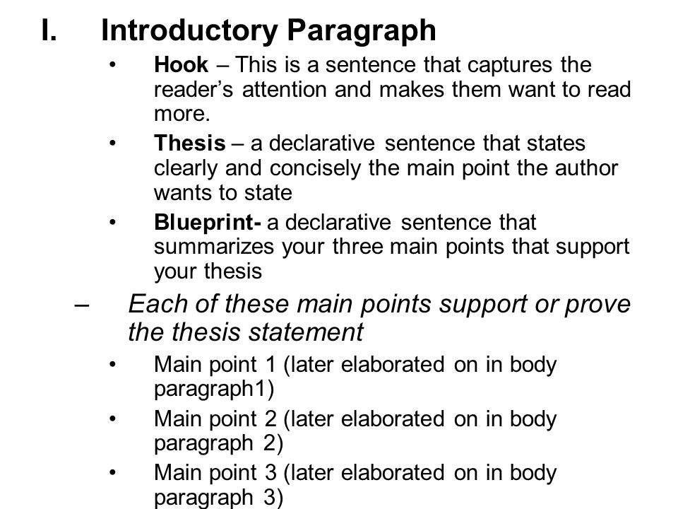 I.Introductory Paragraph Hook – This is a sentence that captures the reader's attention and makes them want to read more.