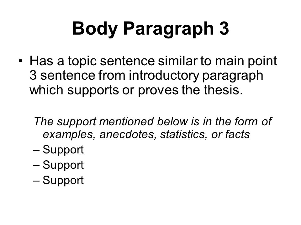 Body Paragraph 3 Has a topic sentence similar to main point 3 sentence from introductory paragraph which supports or proves the thesis.