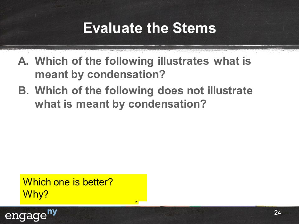 Evaluate the Stems A.Which of the following illustrates what is meant by condensation? B.Which of the following does not illustrate what is meant by c