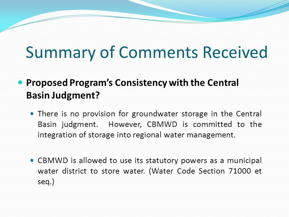 Summary of Comments Received Proposed Program's Consistency with the Central Basin Judgment.