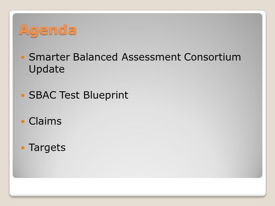 Agenda Smarter Balanced Assessment Consortium Update SBAC Test Blueprint Claims Targets