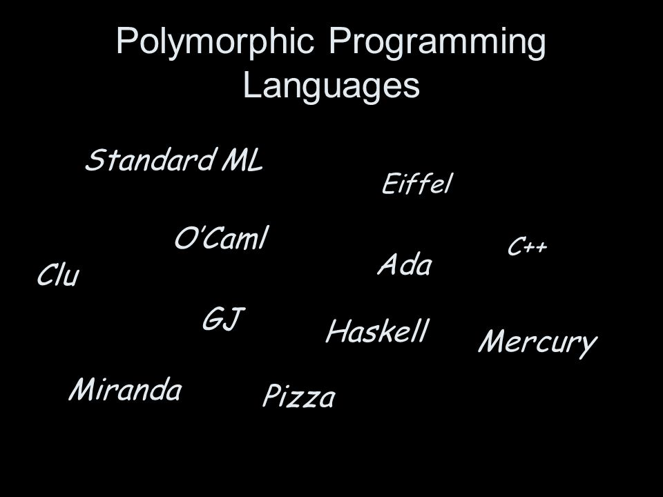 Polymorphic Programming Languages Standard ML O'Caml Eiffel Ada GJ C++ Mercury Miranda Pizza Haskell Clu
