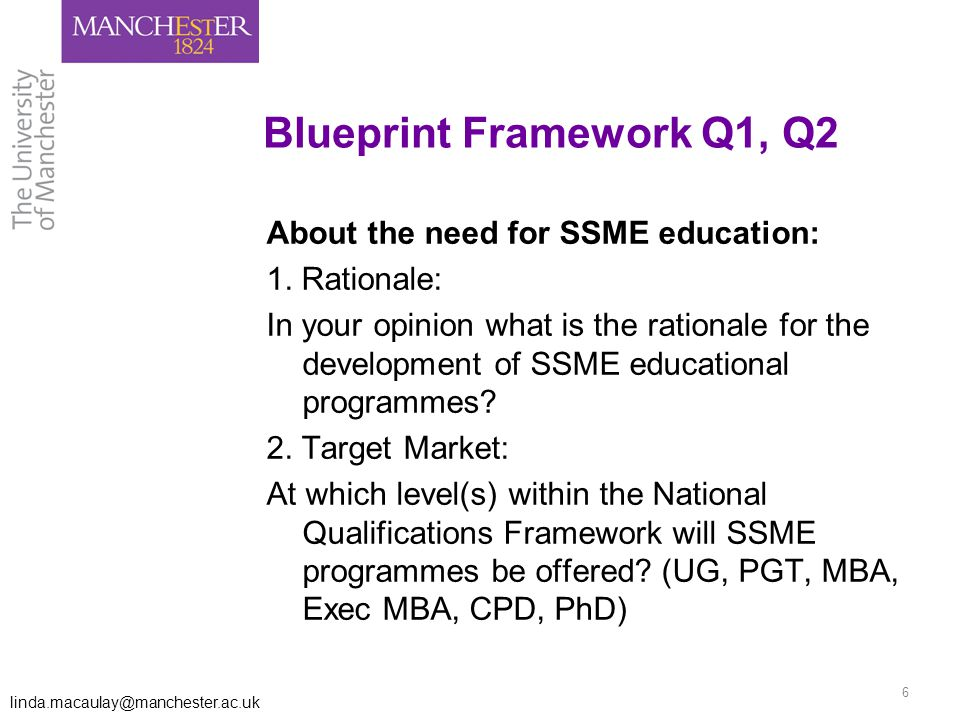 linda.macaulay@manchester.ac.uk 6 Blueprint Framework Q1, Q2 About the need for SSME education: 1.