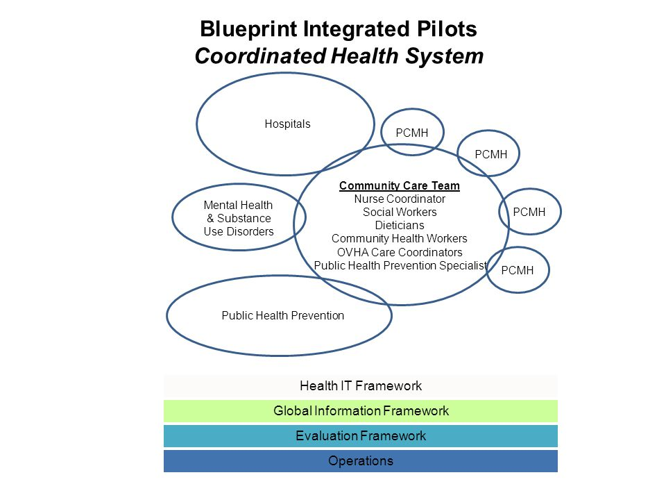 Health IT Framework Global Information Framework Evaluation Framework Operations Blueprint Integrated Pilots Coordinated Health System PCMH Hospitals