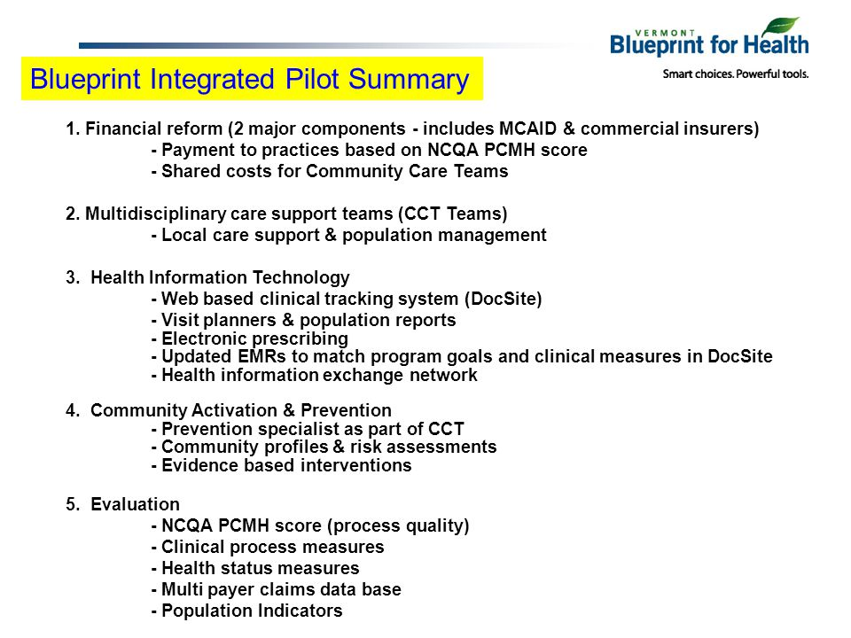 Blueprint Integrated Pilot Summary 1. Financial reform (2 major components - includes MCAID & commercial insurers) - Payment to practices based on NCQ
