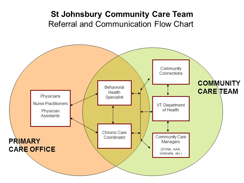 Behavioral Health Specialist Chronic Care Coordinator Community Connections VT Department of Health Community Care Managers (OVHA, AAA, Umbrella, etc.) Physicians Nurse Practitioners Physician Assistants COMMUNITY CARE TEAM PRIMARY CARE OFFICE St Johnsbury Community Care Team Referral and Communication Flow Chart