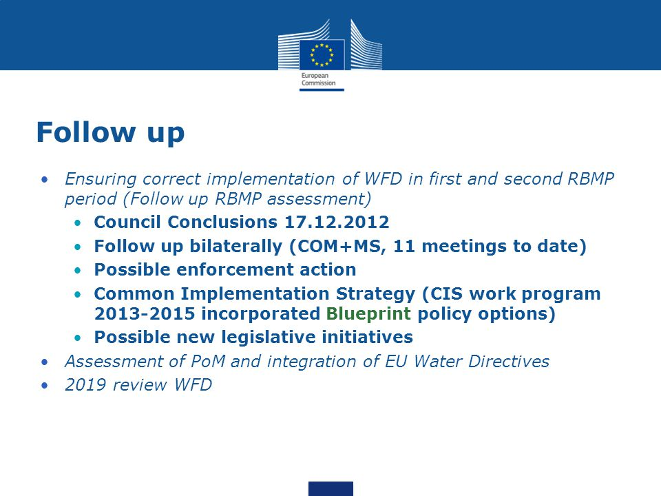 Follow up Ensuring correct implementation of WFD in first and second RBMP period (Follow up RBMP assessment) Council Conclusions 17.12.2012 Follow up