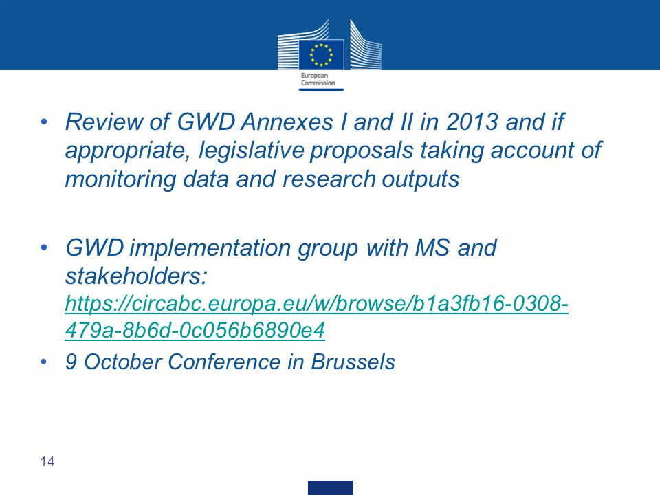 Review of GWD Annexes I and II in 2013 and if appropriate, legislative proposals taking account of monitoring data and research outputs GWD implementa