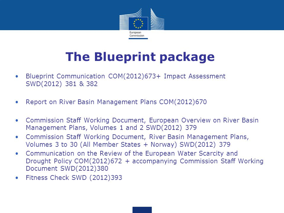 The Blueprint package Blueprint Communication COM(2012)673+ Impact Assessment SWD(2012) 381 & 382 Report on River Basin Management Plans COM(2012)670 Commission Staff Working Document, European Overview on River Basin Management Plans, Volumes 1 and 2 SWD(2012) 379 Commission Staff Working Document, River Basin Management Plans, Volumes 3 to 30 (All Member States + Norway) SWD(2012) 379 Communication on the Review of the European Water Scarcity and Drought Policy COM(2012)672 + accompanying Commission Staff Working Document SWD(2012)380 Fitness Check SWD (2012)393