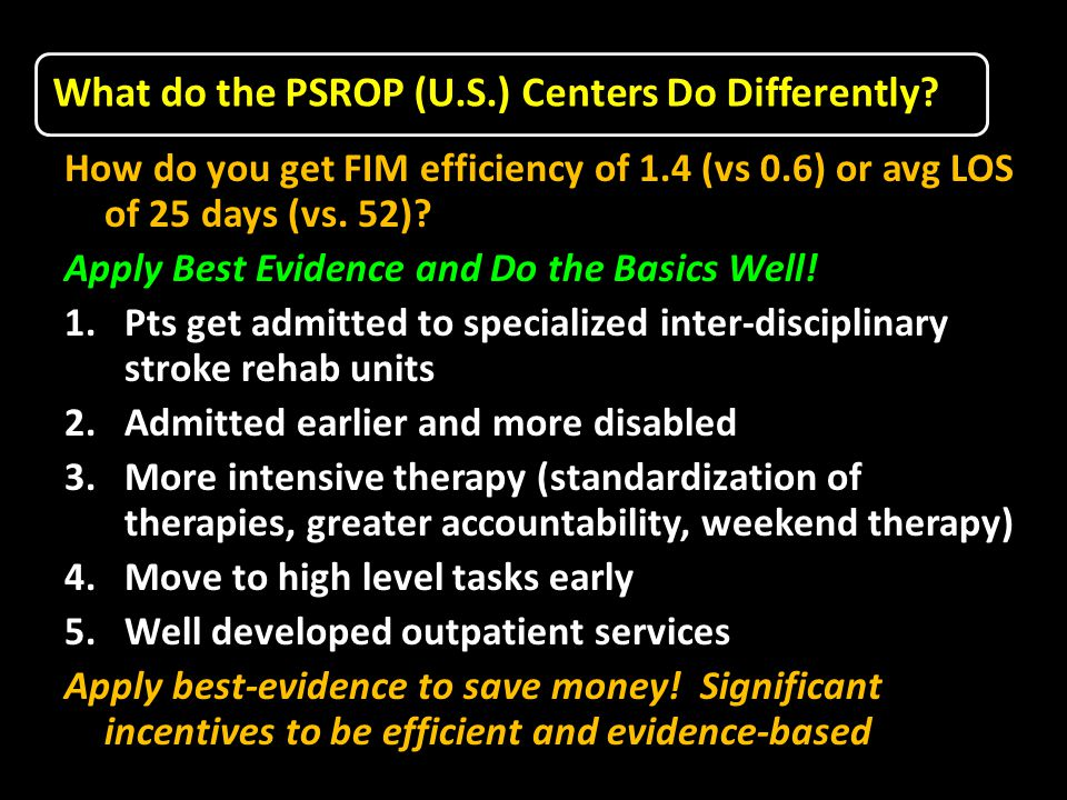 What do the PSROP (U.S.) Centers Do Differently.