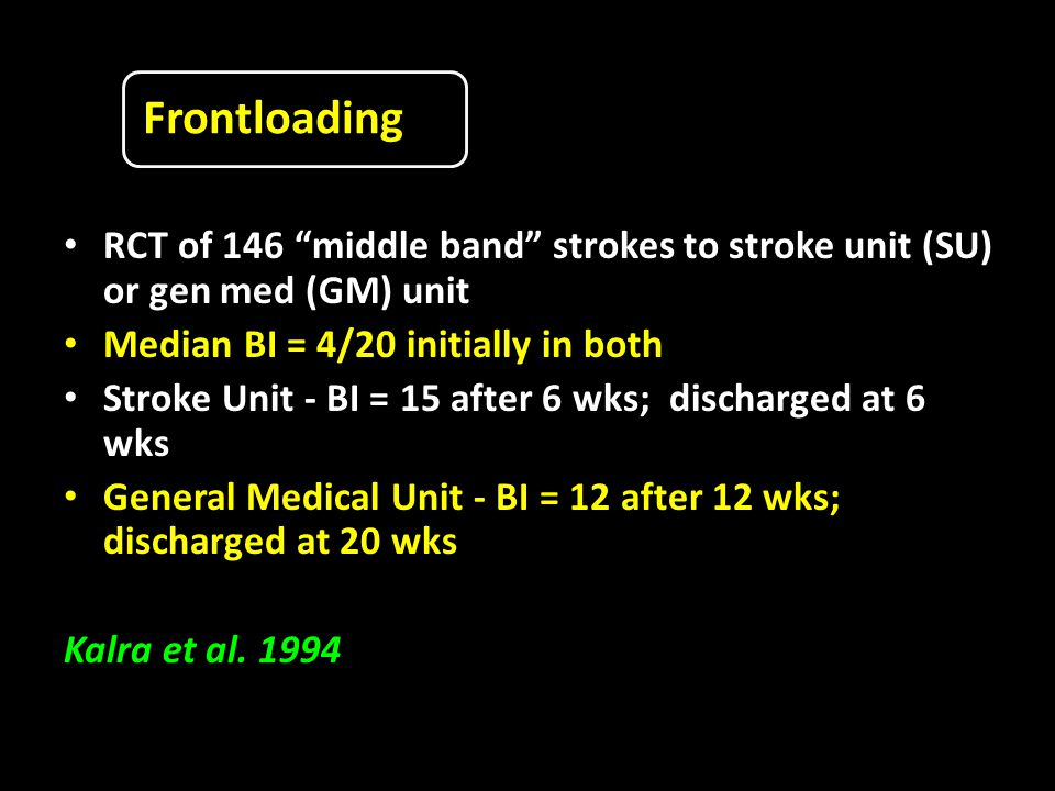 Frontloading RCT of 146 middle band strokes to stroke unit (SU) or gen med (GM) unit Median BI = 4/20 initially in both Stroke Unit - BI = 15 after 6 wks; discharged at 6 wks General Medical Unit - BI = 12 after 12 wks; discharged at 20 wks Kalra et al.