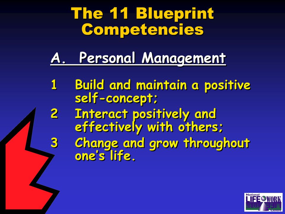The 11 Blueprint Competencies A. Personal Management 1Build and maintain a positive self-concept; 2Interact positively and effectively with others; 3C