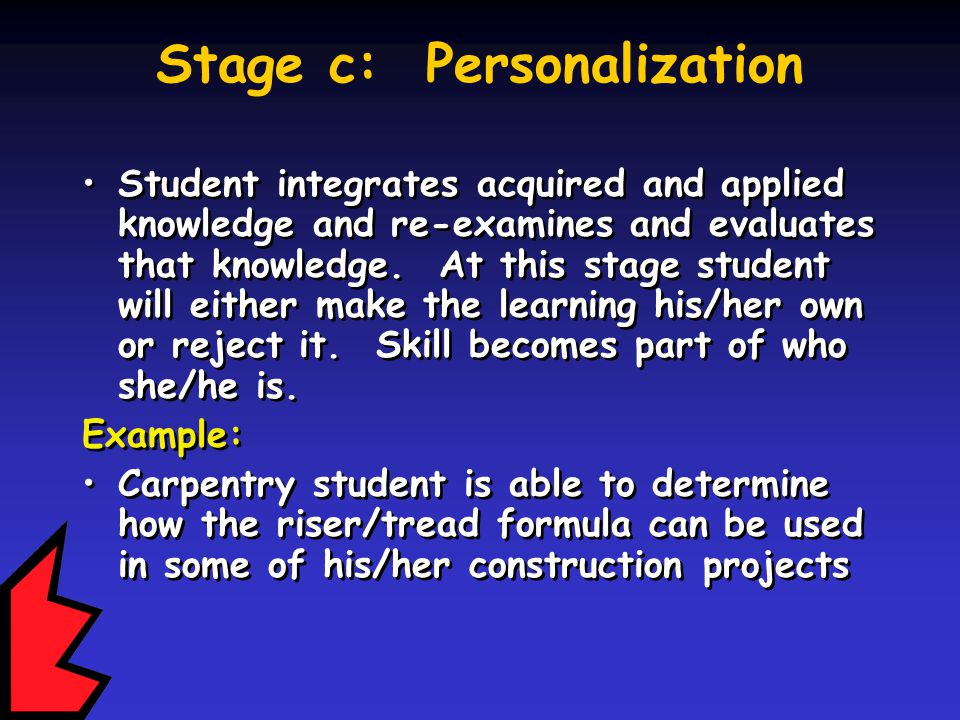 Stage c: Personalization Student integrates acquired and applied knowledge and re-examines and evaluates that knowledge.