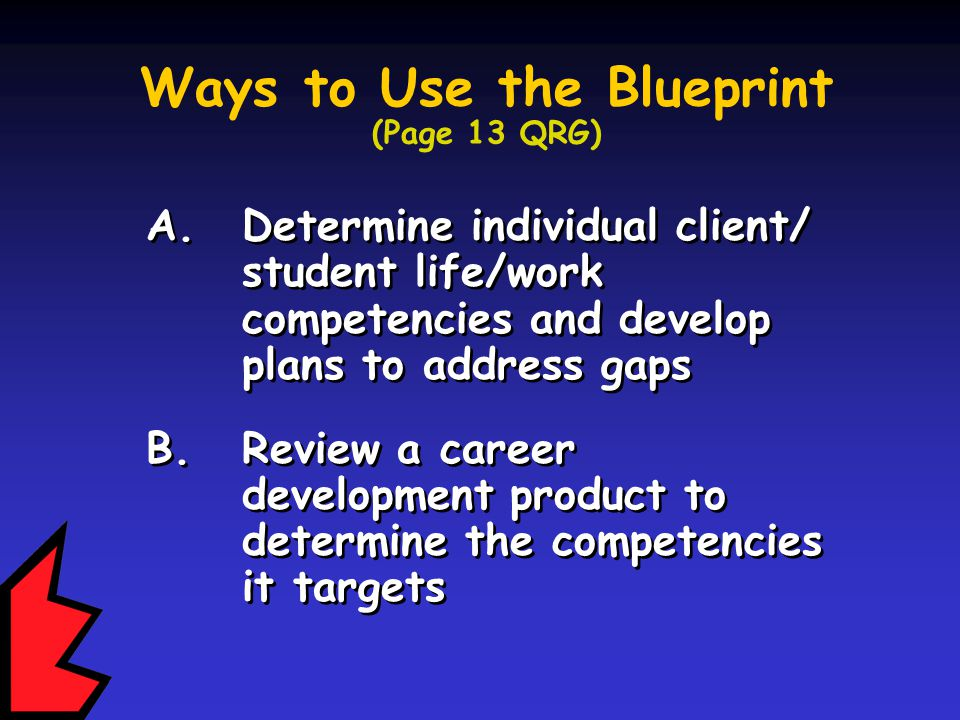 A. Determine individual client/ student life/work competencies and develop plans to address gaps B.