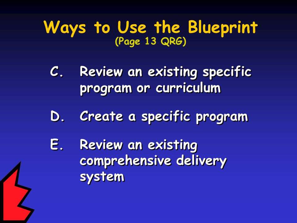 C. Review an existing specific program or curriculum D.