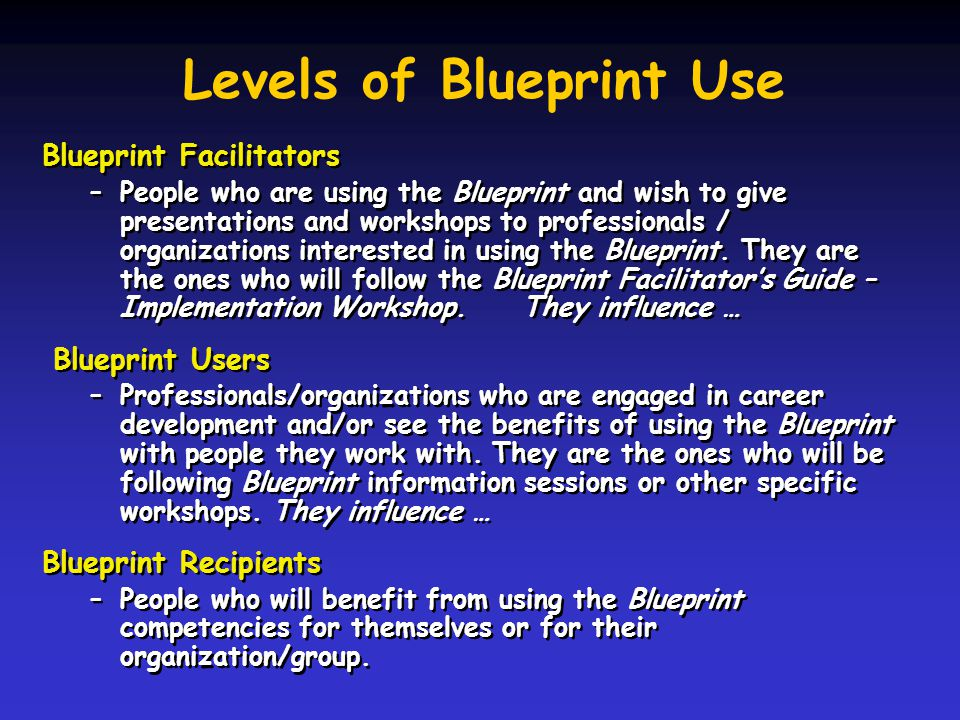 Levels of Blueprint Use Blueprint Facilitators –People who are using the Blueprint and wish to give presentations and workshops to professionals / organizations interested in using the Blueprint.