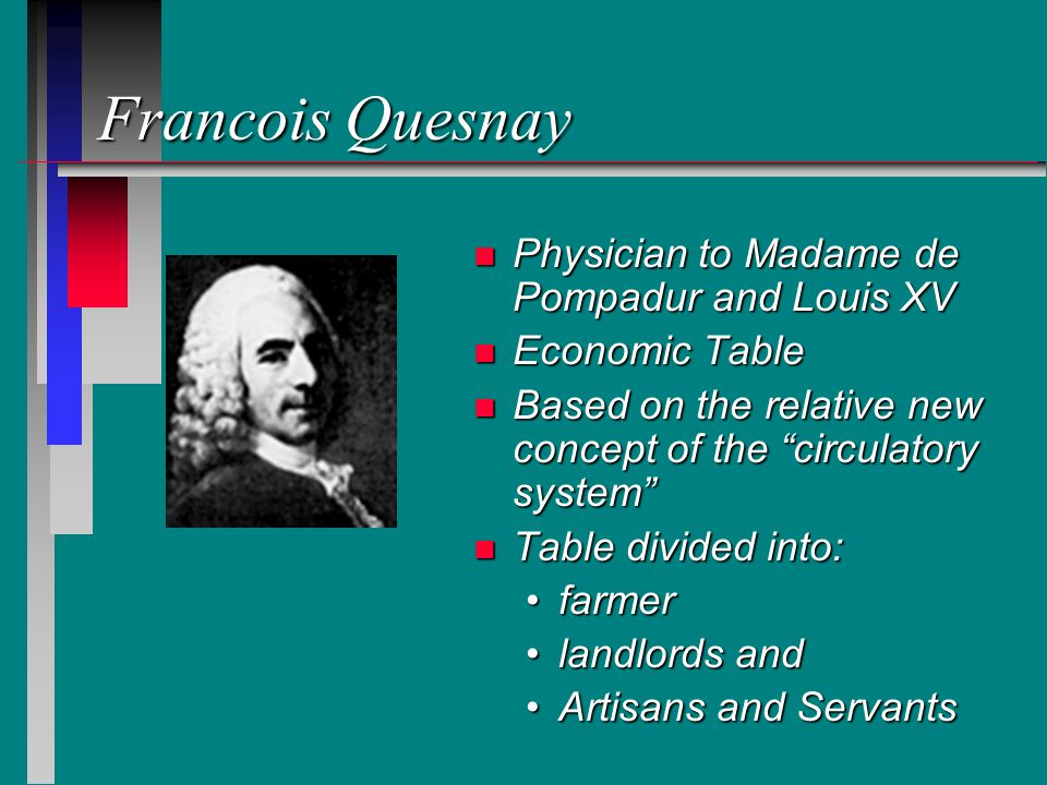Francois Quesnay n Physician to Madame de Pompadur and Louis XV n Economic Table n Based on the relative new concept of the circulatory system n Table divided into: farmerfarmer landlords andlandlords and Artisans and ServantsArtisans and Servants