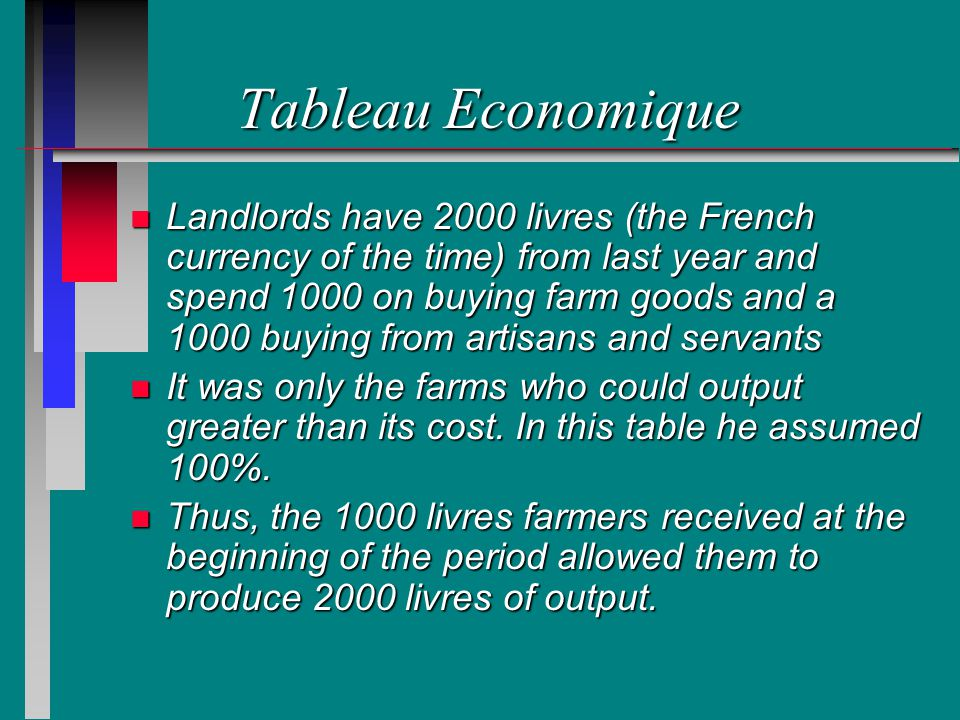 Tableau Economique n Landlords have 2000 livres (the French currency of the time) from last year and spend 1000 on buying farm goods and a 1000 buying from artisans and servants n It was only the farms who could output greater than its cost.