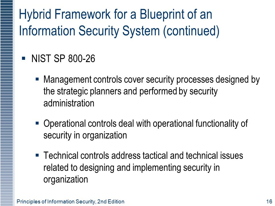 Principles of Information Security, 2nd Edition 16 Hybrid Framework for a Blueprint of an Information Security System (continued)  NIST SP 800-26  Management controls cover security processes designed by the strategic planners and performed by security administration  Operational controls deal with operational functionality of security in organization  Technical controls address tactical and technical issues related to designing and implementing security in organization