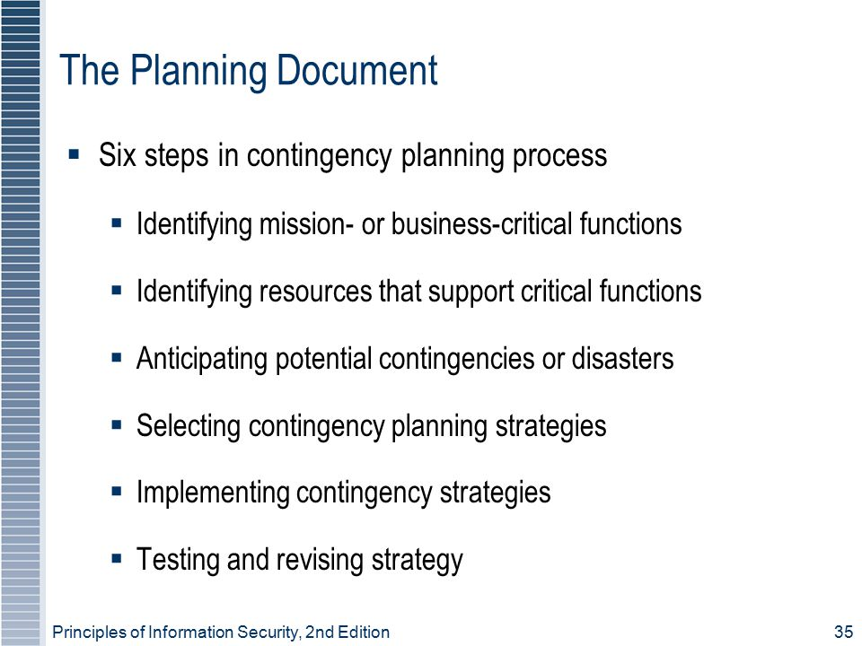 Principles of Information Security, 2nd Edition 35 The Planning Document  Six steps in contingency planning process  Identifying mission- or business-critical functions  Identifying resources that support critical functions  Anticipating potential contingencies or disasters  Selecting contingency planning strategies  Implementing contingency strategies  Testing and revising strategy