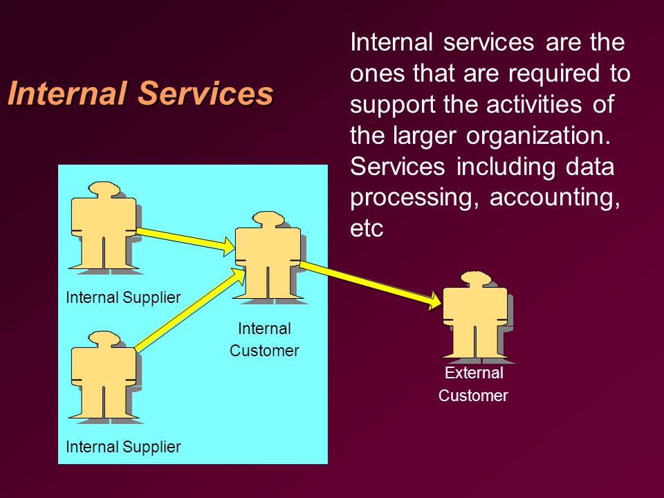 Internal Services Internal Supplier Internal Customer External Customer Internal services are the ones that are required to support the activities of the larger organization.
