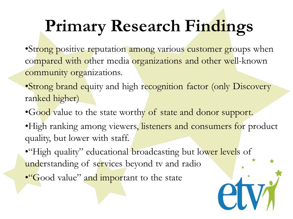 Primary Research Findings Strong positive reputation among various customer groups when compared with other media organizations and other well-known community organizations.