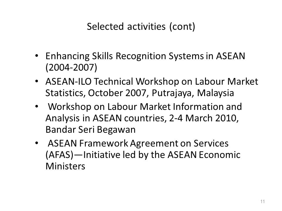 Selected activities (cont) Enhancing Skills Recognition Systems in ASEAN (2004-2007) ASEAN-ILO Technical Workshop on Labour Market Statistics, October 2007, Putrajaya, Malaysia Workshop on Labour Market Information and Analysis in ASEAN countries, 2-4 March 2010, Bandar Seri Begawan ASEAN Framework Agreement on Services (AFAS)—Initiative led by the ASEAN Economic Ministers 11