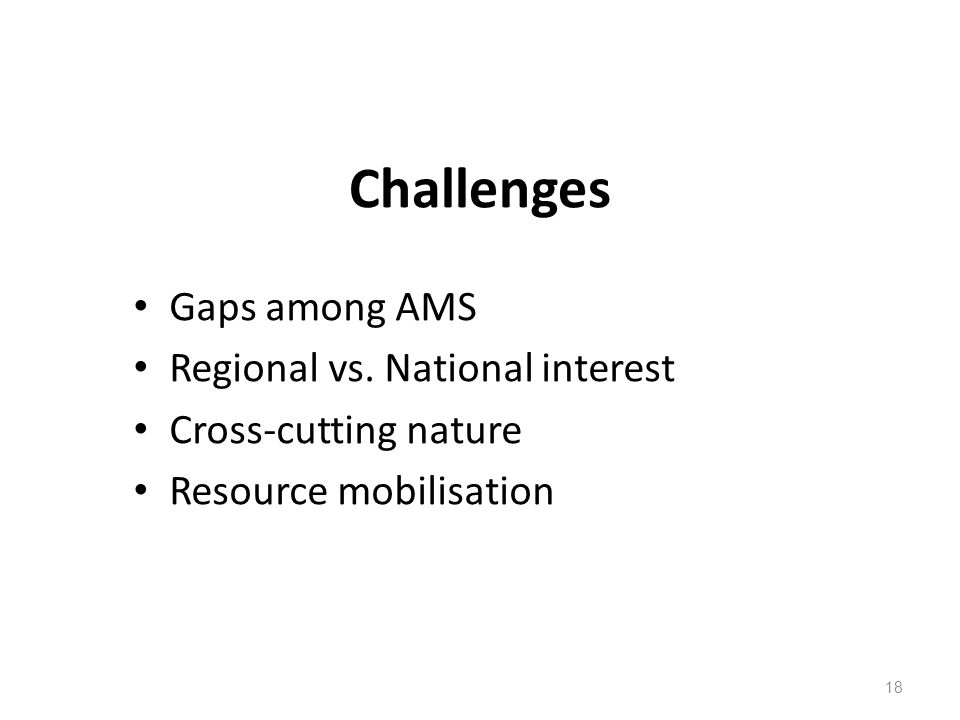 Challenges Gaps among AMS Regional vs.