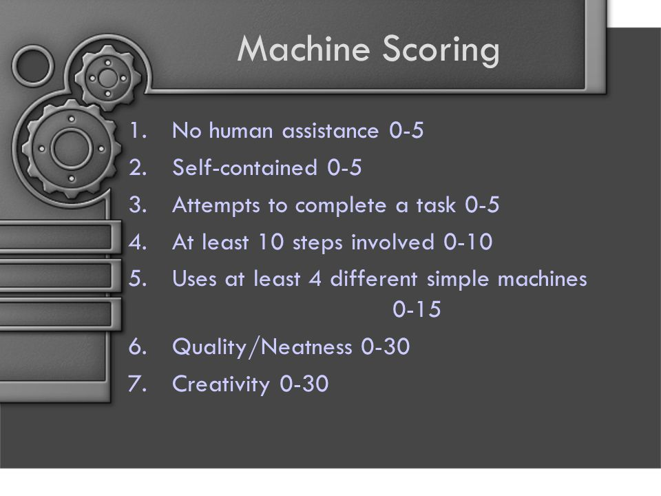 Machine Scoring 1.No human assistance 0-5 2.Self-contained 0-5 3.Attempts to complete a task 0-5 4.At least 10 steps involved 0-10 5.Uses at least 4 d