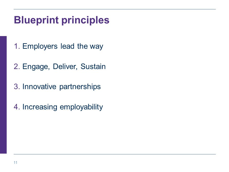 11 Blueprint principles 1.Employers lead the way 2.Engage, Deliver, Sustain 3.Innovative partnerships 4.Increasing employability