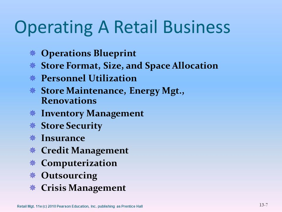 13-7 Retail Mgt. 11e (c) 2010 Pearson Education, Inc. publishing as Prentice Hall Operating A Retail Business  Operations Blueprint  Store Format, S