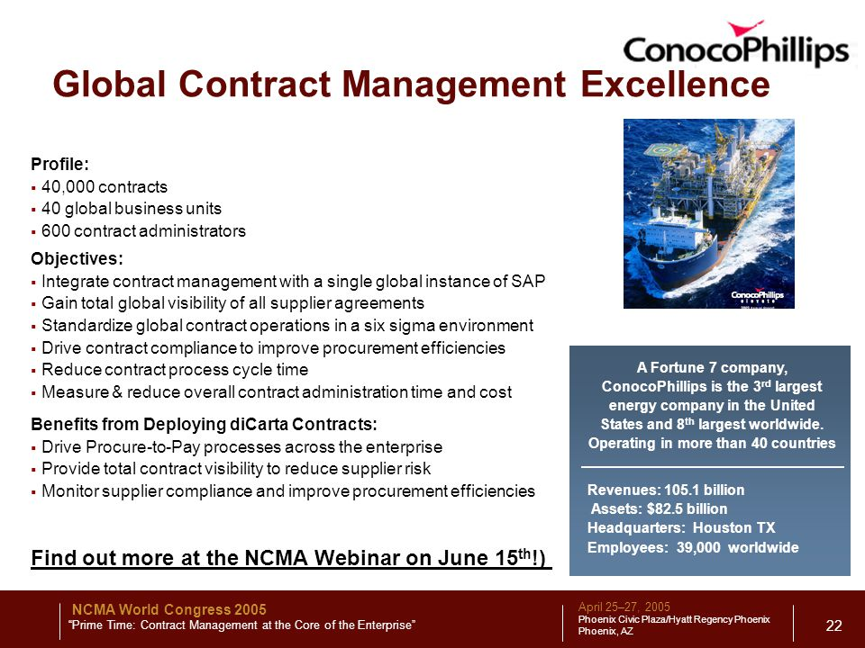 April 25–27, 2005 Phoenix Civic Plaza/Hyatt Regency Phoenix Phoenix, AZ NCMA World Congress 2005 Prime Time: Contract Management at the Core of the Enterprise 22 Global Contract Management Excellence Profile:  40,000 contracts  40 global business units  600 contract administrators Objectives:  Integrate contract management with a single global instance of SAP  Gain total global visibility of all supplier agreements  Standardize global contract operations in a six sigma environment  Drive contract compliance to improve procurement efficiencies  Reduce contract process cycle time  Measure & reduce overall contract administration time and cost Benefits from Deploying diCarta Contracts:  Drive Procure-to-Pay processes across the enterprise  Provide total contract visibility to reduce supplier risk  Monitor supplier compliance and improve procurement efficiencies A Fortune 7 company, ConocoPhillips is the 3 rd largest energy company in the United States and 8 th largest worldwide.