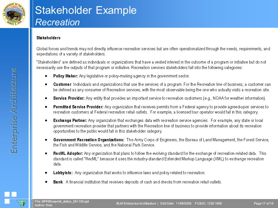 Page 17 of 19 File: MPNBlueprint_status_051108.ppt Author: fries BLM Enterprise Architecture | Edit Date: 11/08/2005 FC&SC: 1230 1600 Stakeholder Example Recreation